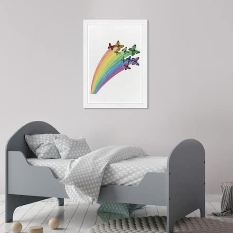 Olivia's Easel 'Butterflies' Kids Wall Art Framed Print White, Green