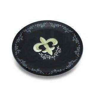 Black and Gold Fleur De Lis Decorative Glass Platter 13 in.