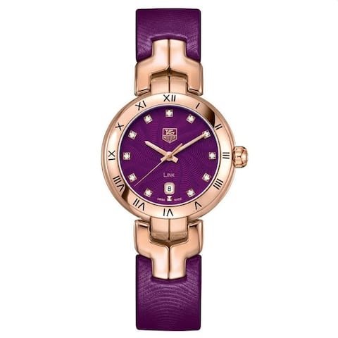 Tag Heuer Women's WAT1440.FC8183 'Link' Diamond Purple Leather Watch