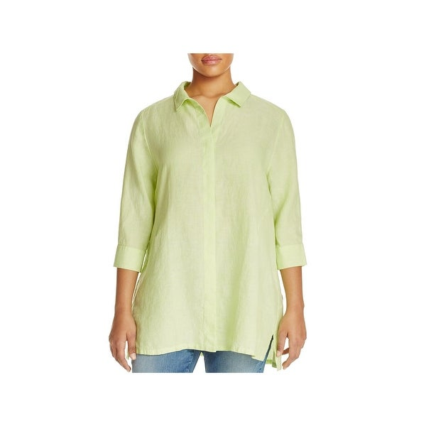Foxcroft Womens Plus Button-Down Top Linen 3/4 Sleeves
