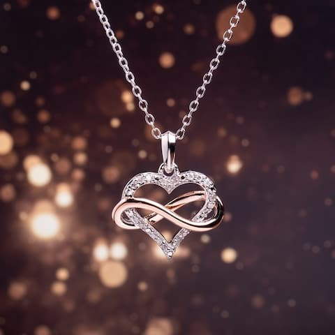 Miadora Two-Tone White and Rose Plated Sterling Silver 1/10ct TDW Diamond Infinity Heart Necklace - 19.4 mm x 18 in x 16.5 mm