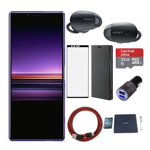 Sony XPERIA 1 (Purple) with Sony WF1000 True Wireless Headphone - Purple
