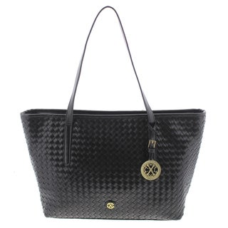 CXL by Christian Lacroix Womens Anastasia Tote Handbag Faux Leather Woven - Large