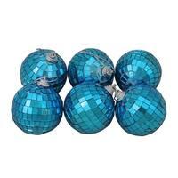 "6ct Ocean Blue Mirrored Glass Disco Ball Christmas Ornaments 2.5"" (60mm)"