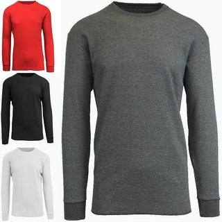 Mens Crew Neck Waffle Knit Thermal Shirt
