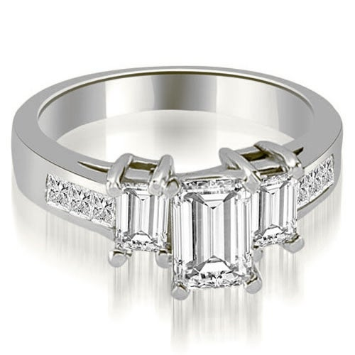 1.75 cttw. 14K White Gold Channel Princess and EmeraldDiamond Engagement Ring