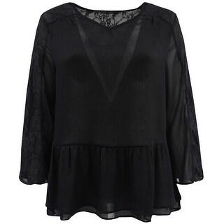 Women - Plus Size Chiffon Lace Ruffle Top Knit T-Shirt Fashion Blouse Tee Black