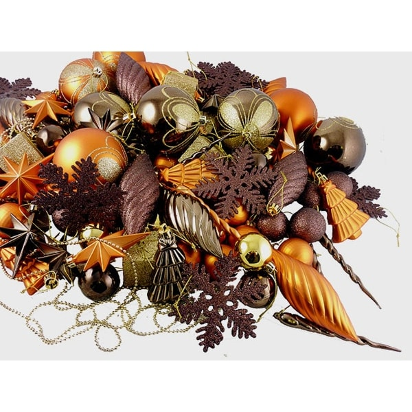 125-Piece Club Pack of Shatterproof Chocolate Brown and Burnt Orange Christmas Ornaments