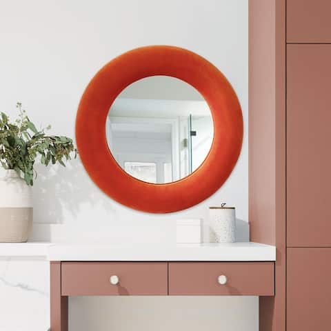 Contemporary Velvet upholstered Round Handmade Wall Accent Mirror