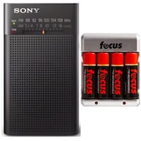 Sony Portable AM/FM Transistor Radio with Built-in Speaker, Headphone Jack + AA