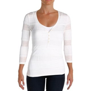 Denim & Supply Ralph Lauren Womens Henley Top Lace 3/4 Sleeves