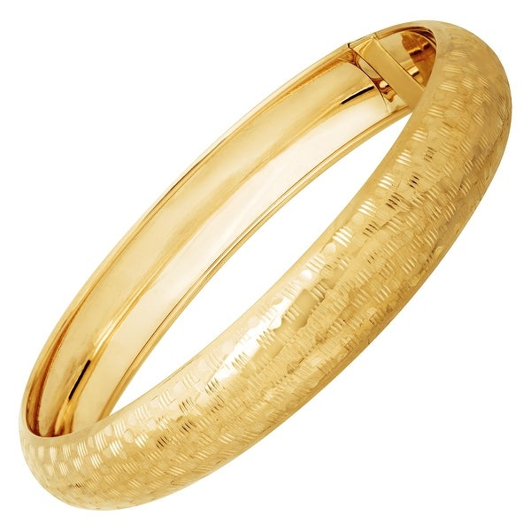 Just Gold Checkerboard Bangle Bracelet in 14K Gold - Yellow