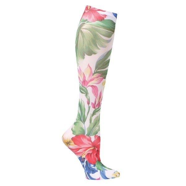 Celeste Stein Moderate Compression Knee High Stockings Wide Calf-White Hawaiian - Medium