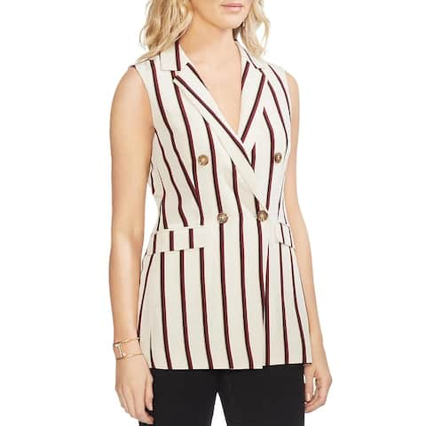 Vince Camuto Womens Vest Stripe Double Breasted - Sand Drift