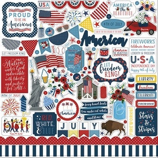 "Celebrate America Cardstock Stickers 12""X12""-Elements"