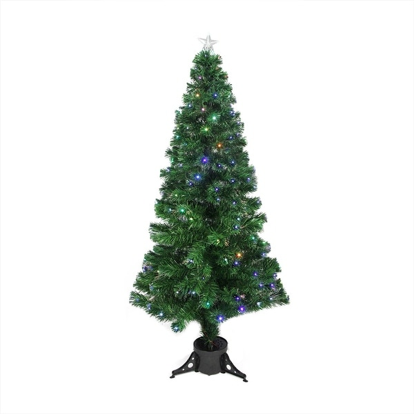 6' Pre-Lit LED Color Changing Fiber Optic Christmas Tree with Star Tree Topper - green