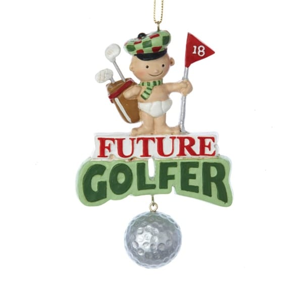 """3.75"""" Baby with Bag & Ball """"Future Golfer"""" Christmas Pendant Ornament - green"""