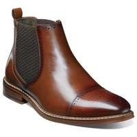 Stacy Adams Men's Alomar Cap Toe Chelsea Boot 25129 Cognac Antiqued Leather