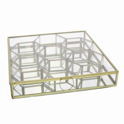 Metal and Glass Box with Honeycomb Shaped Storage Sections, Large, Gold