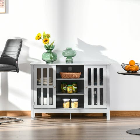 HOMCOM Modern Sideboard Storage Cabinet with 2 Slatted Framed Doors, Open Middle Shelving and Cable Management Hole