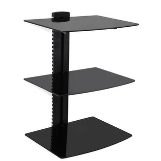 Link to Mount-It! Wall Mounted Floating Shelf Bracket Stand with Three Shelves and Tempered Glass (MI-813) - Black Similar Items in TV Mounts & Stands