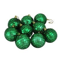 "9ct Green Mirrored Glass Disco Ball Christmas Ornaments 2.5"" (60mm)"