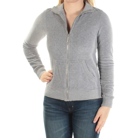 MICHAEL KORS Womens Gray Pocketed Zip Up Jacket Size: S