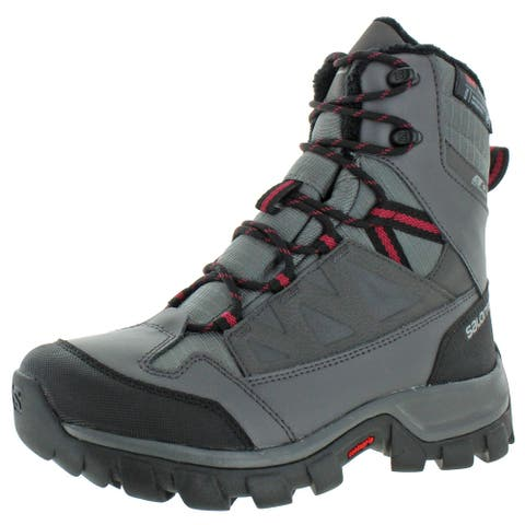 Salomon Womens Chalten TS CSWP Winter Boots Ankle Water Resistant - Quiet Shade/Magnet/Beet Red