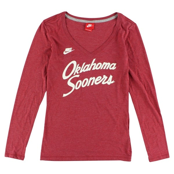0445d46590be19 Nike Womens Oklahoma Sooners Rewind Script Long Sleeve T Shirt Heather Red  - heather red