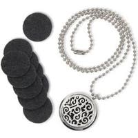 Round Locket W/Abstract Design - Es-Scent-Ials Aromatherapy Lockets & Pendants