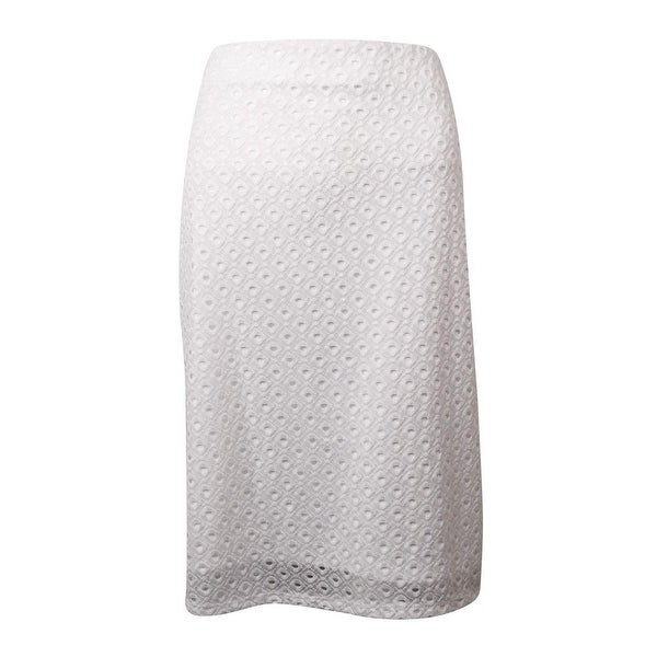 Alfani Women's Eyelet Lace Overlay Pencil Skirt - Bright White