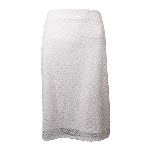 Alfani Women's Eyelet Lace Overlay Pencil Skirt - Bright White