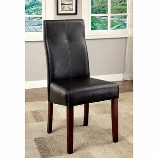 Contemporary Side Chair With Black Pu, Set Of 2