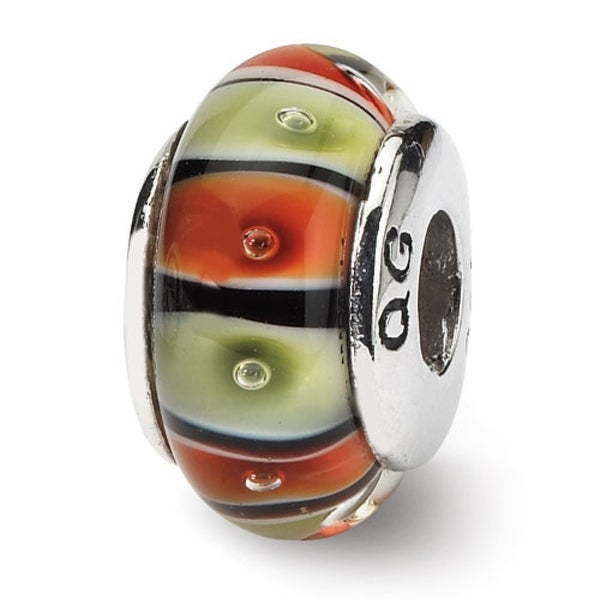 Sterling Silver Reflections Orange,Red/Lt Green Glass Bead (4mm Diameter Hole)