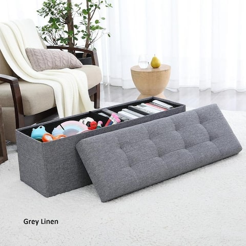 """Foldable Tufted Linen Large Storage Ottoman Bench Foot Rest Stool/Seat - 15"""" x 45"""" x 15"""""""