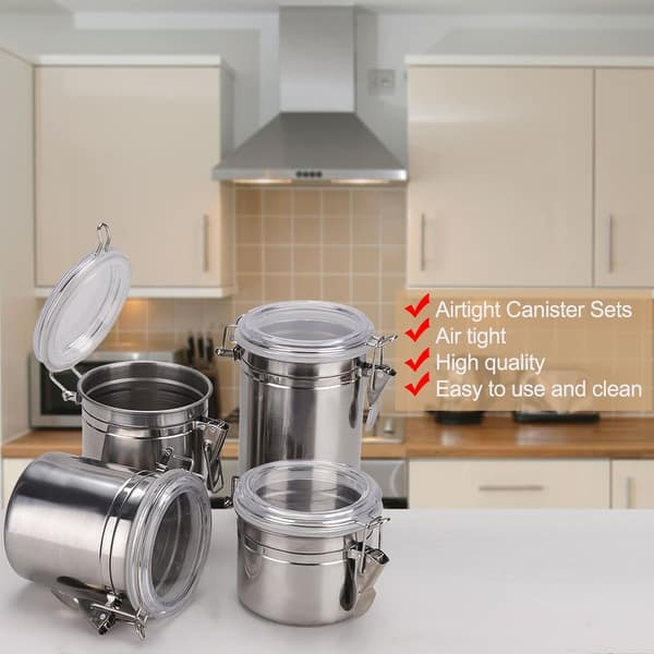 Shop 4pcs Stainless Steel Airtight Canister Set Kitchen ...