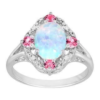 1 1/6 ct Created Opal & Created Pink Sapphire Ring with Diamonds in Sterling Silver - White