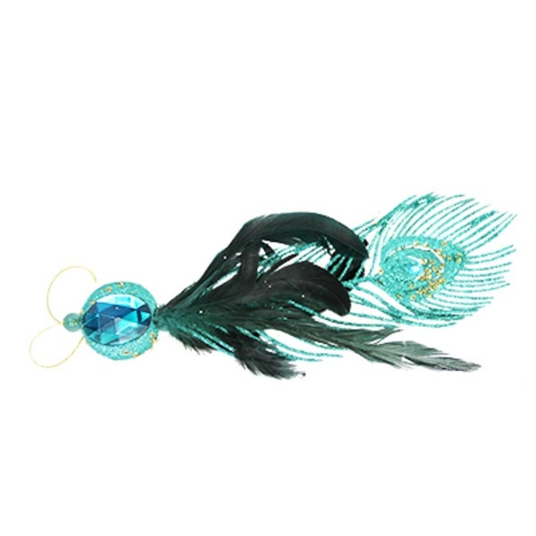 "11"" Regal Peacock Glittered Turquoise Feather Christmas Ornament"