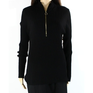 INC NEW Deep Black Womens Size XL Front-Zip Turtleneck Ribbed Sweater