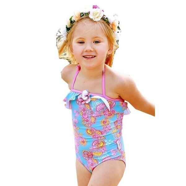 Sun Emporium Baby Girls Blue Pink Sari Paisley Cut Out Detail Swimsuit