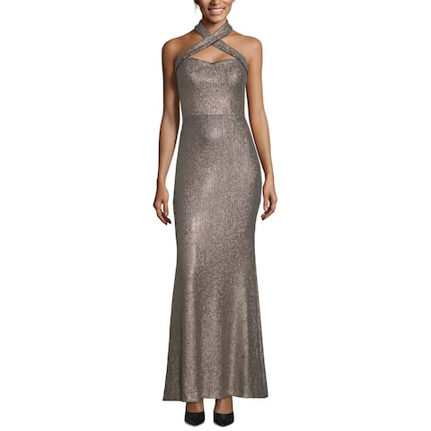 Xscape Womens Dress Bronze Brown Size 12 Sequin Crisscross Halter Gown
