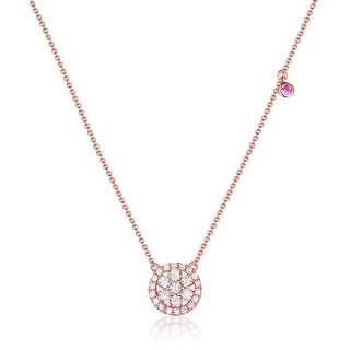 0.45Ct Round Cut G-H/SI1 Pink Color Diamond with White Diamond Round Shaped Necklace