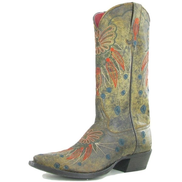Macie Bean Western Boots Womens Floral Dakota Darling Blonde
