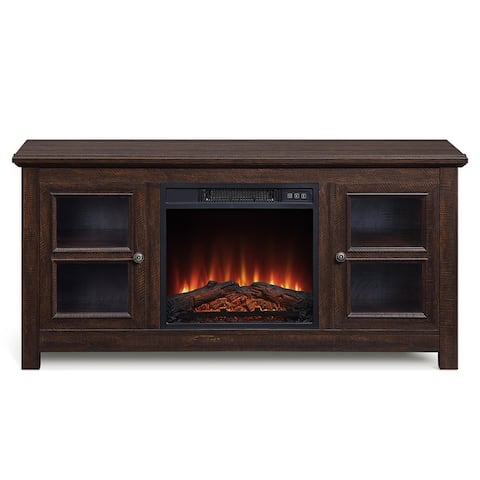 "BELLEZE 50"" Wood TV Console Storage W/ Electric Fireplace - standard"
