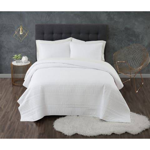 Truly Calm Solid Antimicrobial Textured 3 Piece Quilt Set