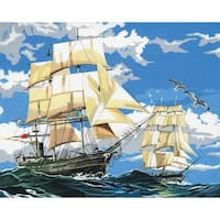 "Paint By Number Kit Artist Canvas Series 11""X14""-Sailing Ships"