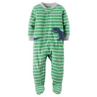 Carter's Little Boys' 1 Piece Dinosaur Fleece Pajamas, 5-Toddler - blue dinosaur