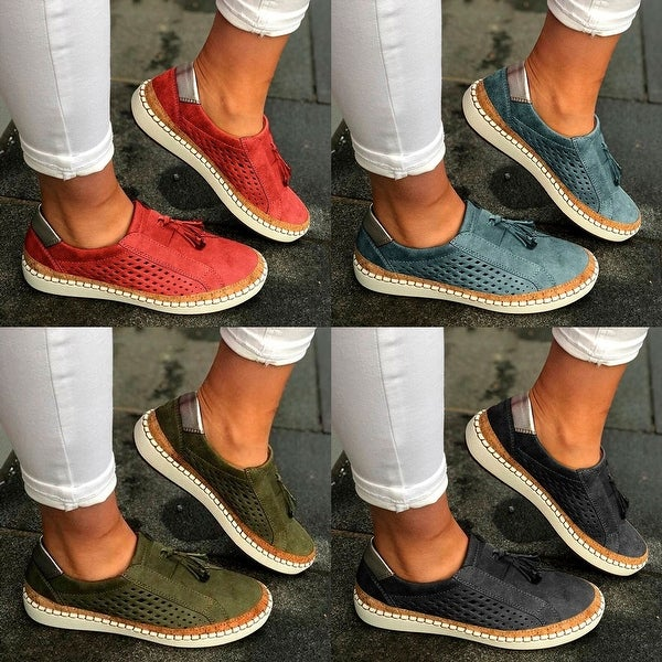Fringe Tassels Slide Hollow-Out Casual Women's Sneakers In 4 Colors. Opens flyout.