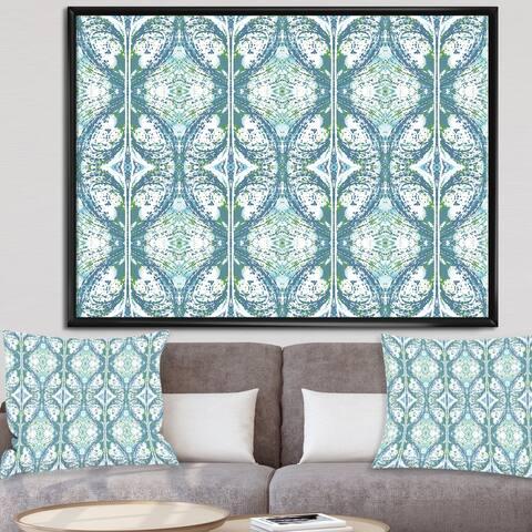 Designart 'Embossed Teal Pattern V' Mid-Century Modern Premium Framed Canvas Wall Art