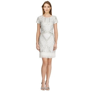 Aidan Mattox Embellished Beaded Fringe Hem Sheath Cocktail Dress - 14